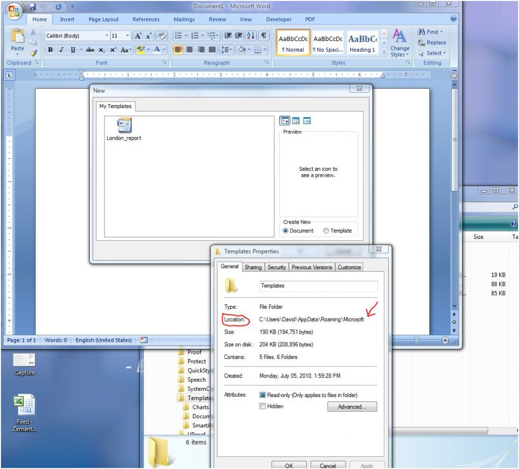 windows add template word 2007